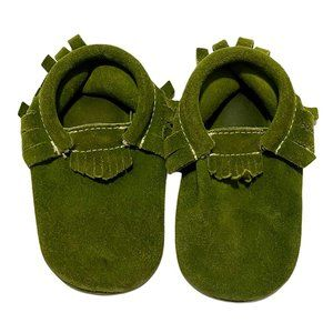 Freshly Picked Green Suede Fringed Moccasins
